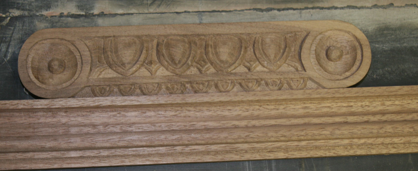 Solid Walnut Cue Rack Construction Carved Detail & Molding