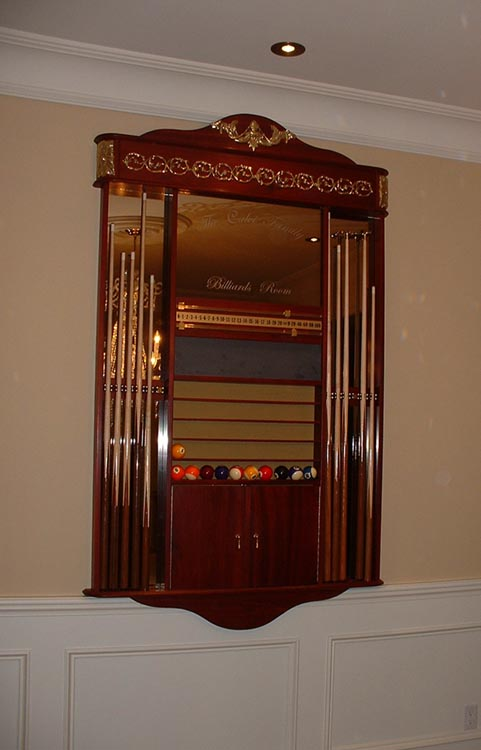 Custom  Louis XVI Cue Rack Solid Blood Wood w Solid Brass Detailing