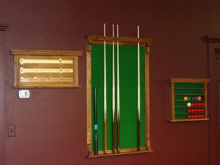 Reproduction Oak Cue Rack, Score Board & Ball Rack