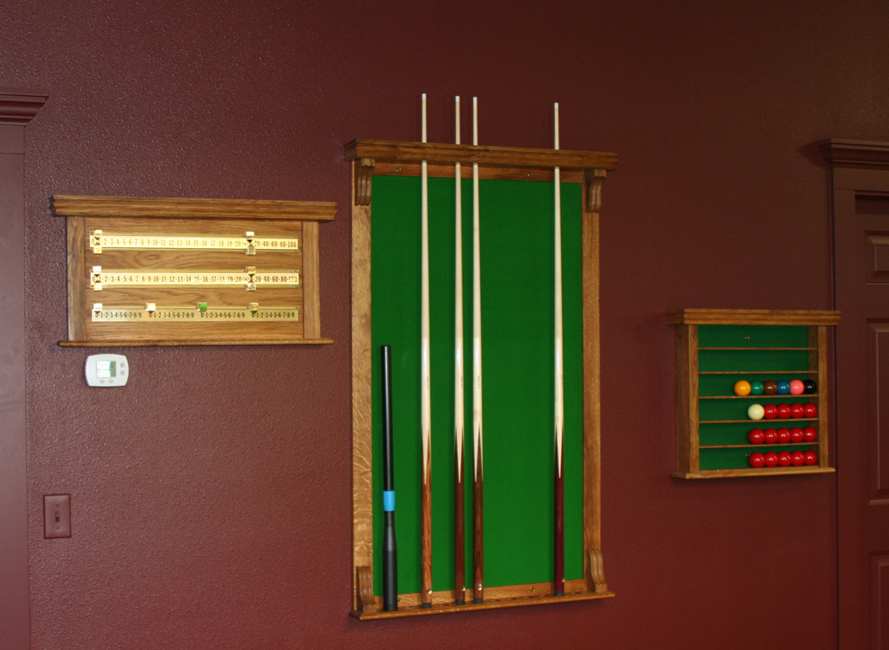 Reproduction Oak Cue Rack, Score Board & Ball Rack