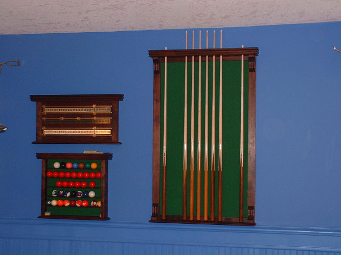 Custom Walnut Cue Rack, Score Board & Ball Rack