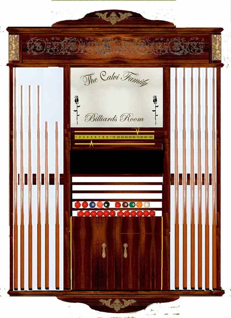 3D CAD Drawing for Custom Louis XVI Cue Rack Option 3