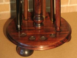 Solid Walnut Round Cue Rack Bottom Detail