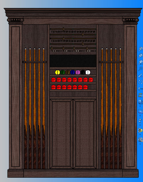 3D CAD Drawing for Walnut Cue Rack, Score Board & Ball Rack Cabinet